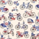 Tissu Coton Cretonne Bicyclette - Bleu, Blanc & Rouge