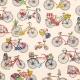 Tissu Coton Cretonne Bicyclette - Multicolore