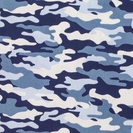 Tissu Popeline Camouflage - Bleu