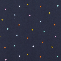 Tissu Popeline Coeurs Multicolores - Bleu marine