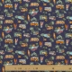 Tissu coton cretonne combi california & palmier - Bleu marine