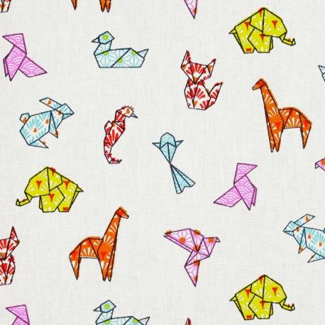 Tissu coton cretonne animaux origami - Orange & Bleu ciel