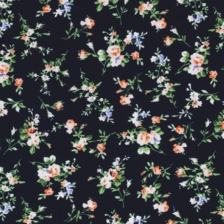 Tissu Viscose Bouquet de fleur - Noir