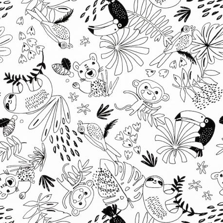 Tissu Coton à Colorier Jungle - Blanc & Noir