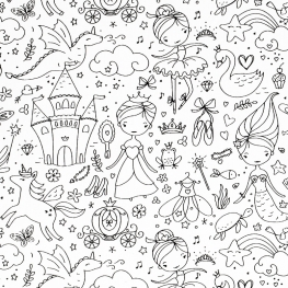 Tissu Coton à Colorier Princesses - Blanc & Noir