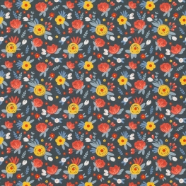 Tissu Popeline Bio Fleurs Anaïs - Bleu nuit