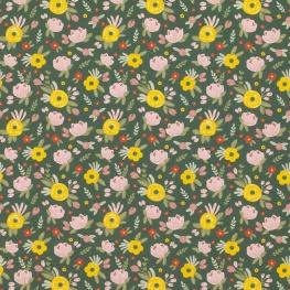 Tissu Popeline Bio Fleurs Anaïs - Vert