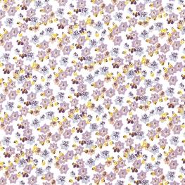 Tissu Popeline Bio Fleurs Julie - Lilas & Jaune