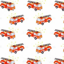 Tissu Popeline Camion de Pompier - Blanc