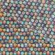 Tissu Coton Cretonne Hiboux d'été - Bleu canard & Multicolore