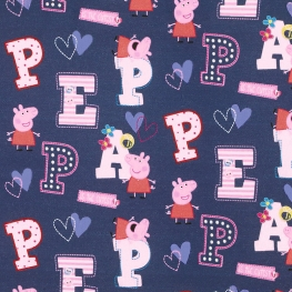 Tissu Popeline Bio Peppa Pig - Bleu marine