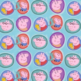 Tissu Popeline Bio Peppa Pig Portraits - Bleu clair