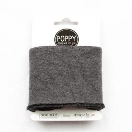 Tissu bord côte uni Poppy - Gris