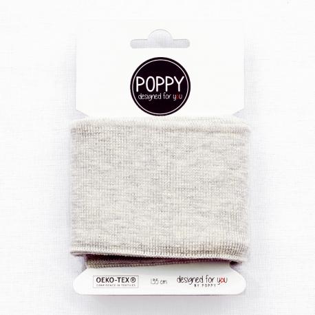 Tissu bord côte uni Poppy - Ecru chiné