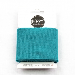 Tissu bord côte uni Poppy - Bleu pétrole