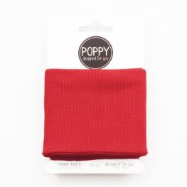 Tissu bord côte uni Poppy - Rouge