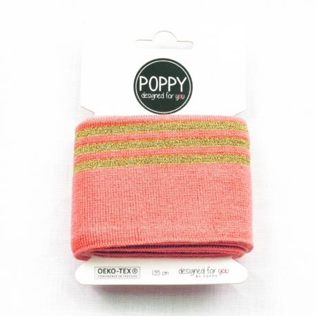 Tissu bord côte doré Poppy - Rose & Doré