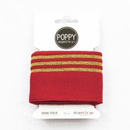 Tissu bord côte doré Poppy - Rouge & Doré