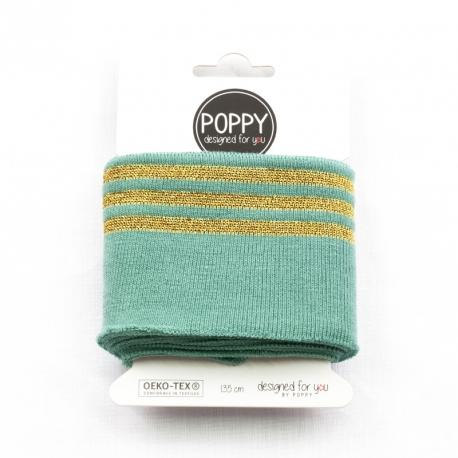 Tissu bord côte doré Poppy - Menthe & Doré