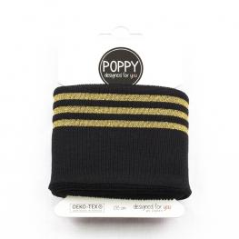 Tissu bord côte doré Poppy - Noir & Doré