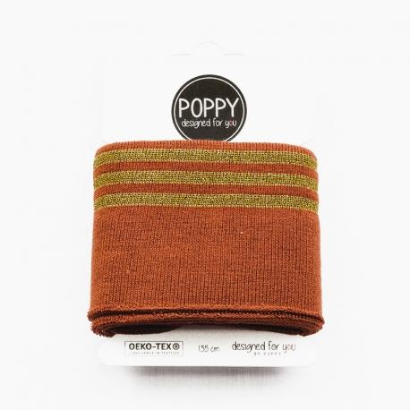 Tissu bord côte doré Poppy - Terre cuite & Doré