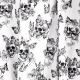 Tissu Coton Cretonne Tête de Mort & Papillons - Blanc & Noir