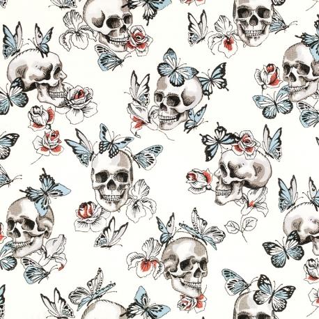 Tissu Coton Cretonne Tête de Mort & Papillons - Ivoire