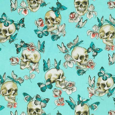 Tissu Coton Cretonne Tête de Mort & Papillons - Turquoise
