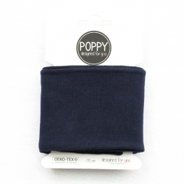 Tissu bord côte uni Poppy - Bleu marine