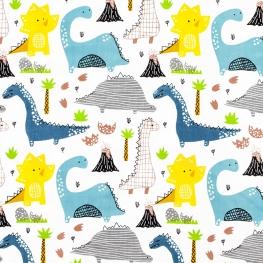 Tissu Popeline Dinosaures Multicolores - Blanc