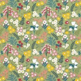 Tissu Popeline Bio Fleurs Printanières - Vert