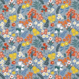 Tissu Popeline Bio Fleurs Printanières - Gris bleu