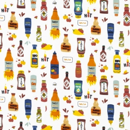 Tissu Popeline Bio À toutes les Sauces - Blanc