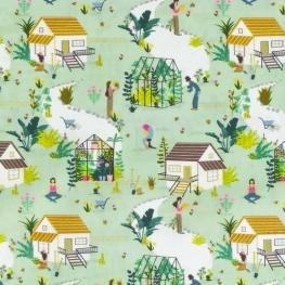 Tissu Popeline Bio Jardin - Vert