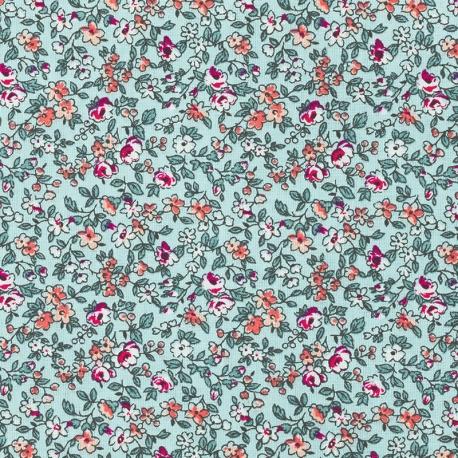 Tissu Coton Cretonne Fleuri Leonie - Turqoise & Corail