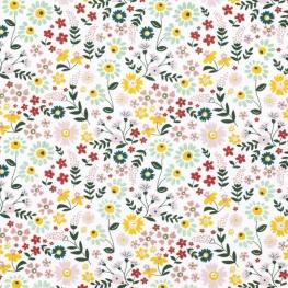 Tissu Popeline Bio Fleurs Isabelle - Rose, Menthe & Jaune