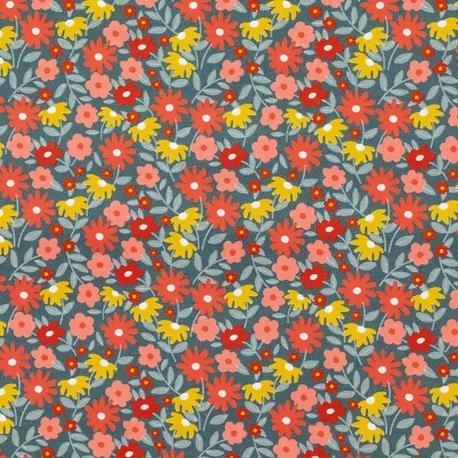 Tissu Popeline Bio Fleurs Béatrice - Bleu nuit