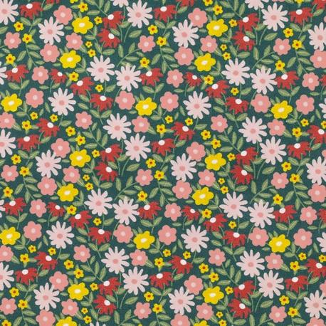 Tissu Popeline Bio Fleurs Béatrice - Vert