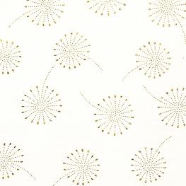 Tissu coton double gaze Pissenlits - Blanc cassé & Doré