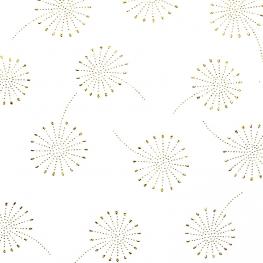 Tissu coton double gaze Pissenlits - Blanc & Doré