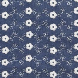 Tissu Broderie Anglaise petite Fleur - Bleu