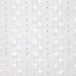 Tissu Broderie Anglaise Lignes Fleurs Festonné - Blanc