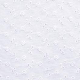 Tissu Broderie Anglaise Paquerette Festonné - Blanc