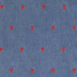 Tissu Chambray Broderie Coeur - Bleu