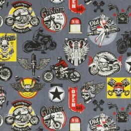 Tissu Coton Cretonne Motard - Gris