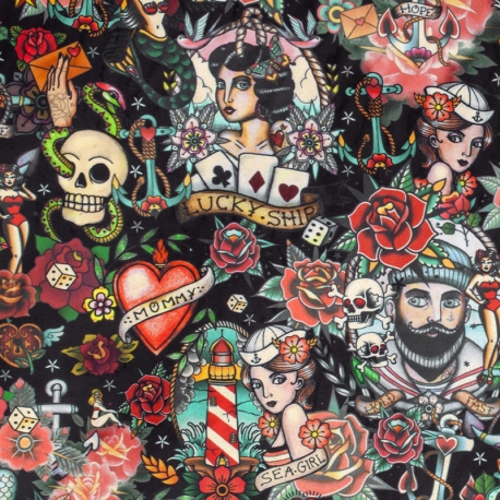 Tissu Velours ras Tatouage - Noir & Multicolore