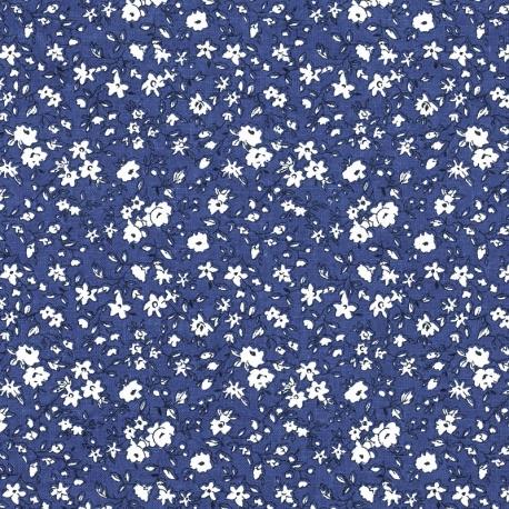 Tissu Coton Cretonne Fleuri Leonie - Bleu & Blanc