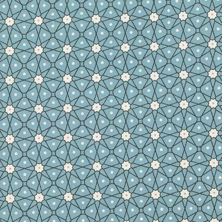 Tissu Coton Cretonne Mosaïque - Bleu clair