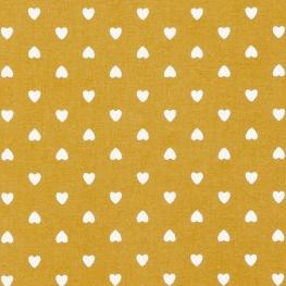 Tissu Coton Coeur d'amour - Ocre