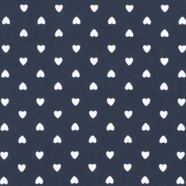 Tissu Coton Coeur d'amour - Bleu marine